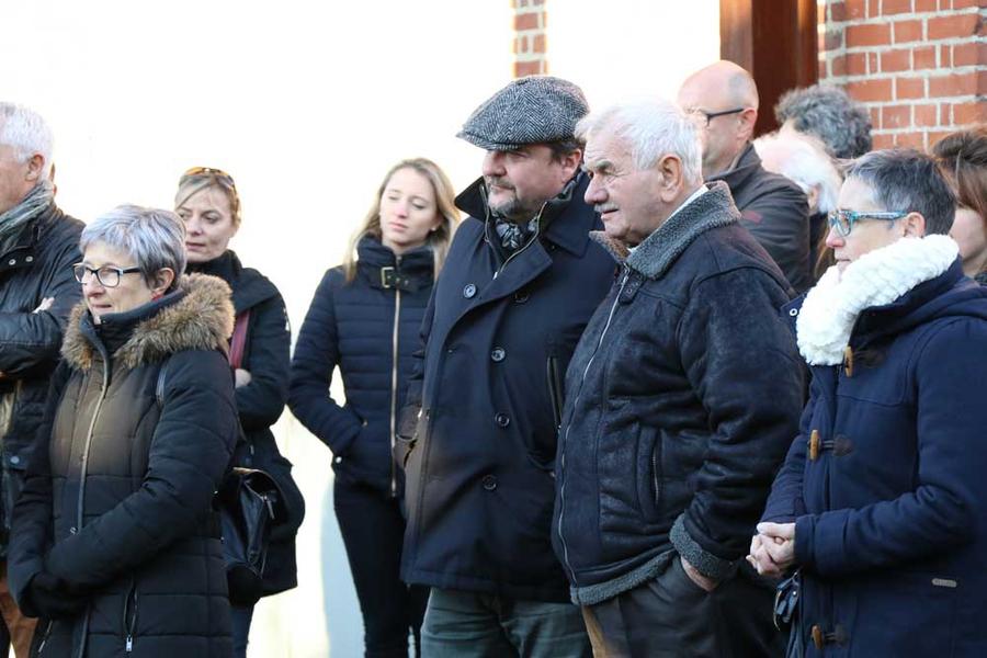 Marc Vadé (à gauche) et René Lukasiewicz, lors de la découverte de la réhabilitation de certains des décors du film